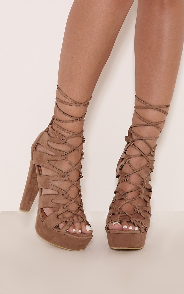 Vivianna Mocha Lace Up Platform Heels 2