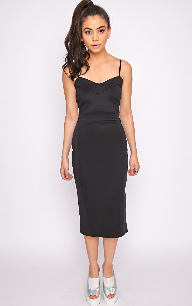 Traci Black Bodycon Midi Dress 1