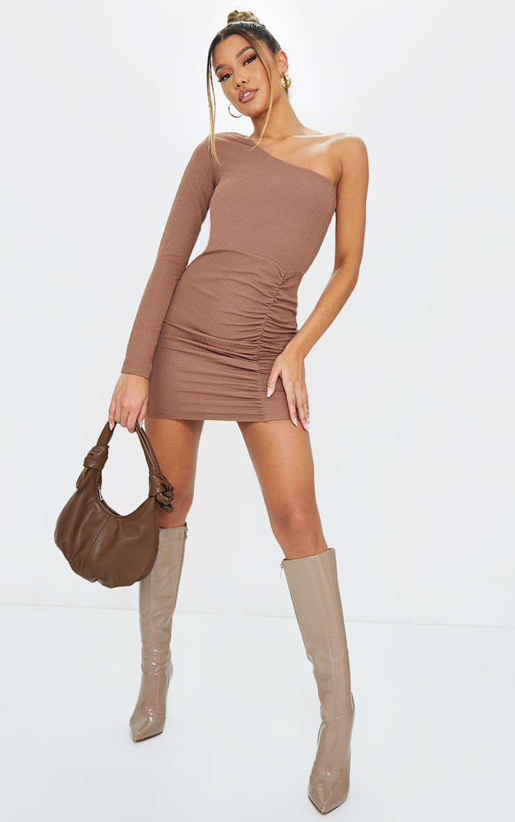 Camel Ribbed One Shoulder Ruched Bodycon Dress 1