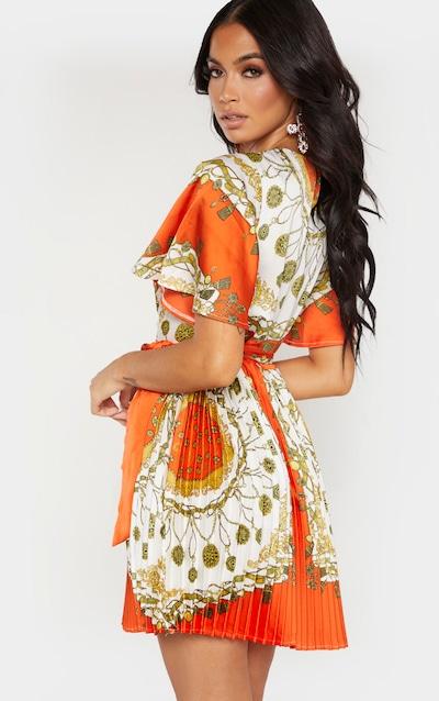 Orange Chain Pleated Skater Dress