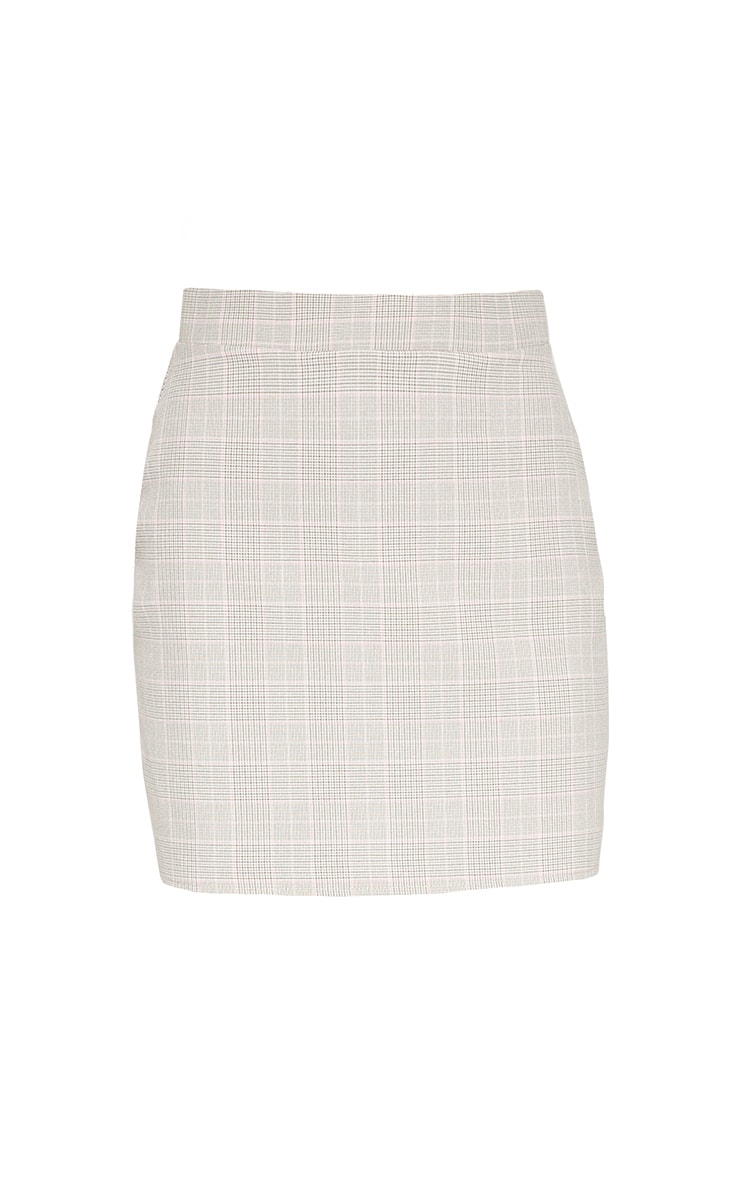 Mocha Check High Waisted Skirt 4