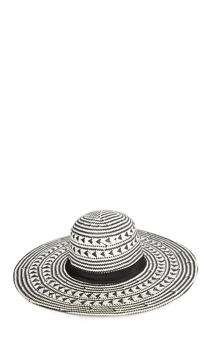 Niven White Aztec Straw Floppy Hat 3