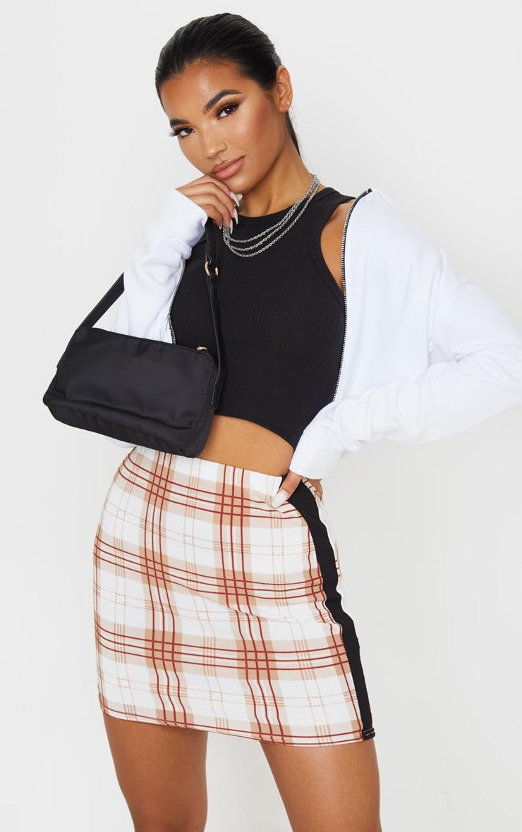 Rust Check Contrast Panel Mini Skirt 5