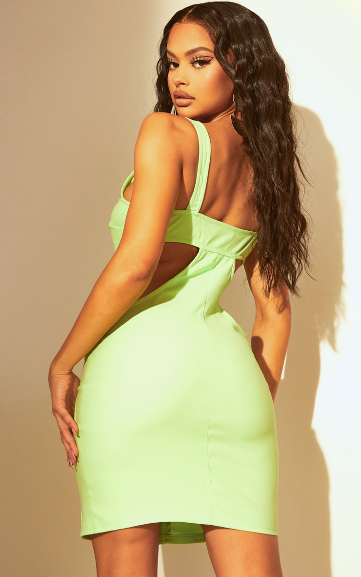 Lime Corset Cut Out Bodycon Dress 2