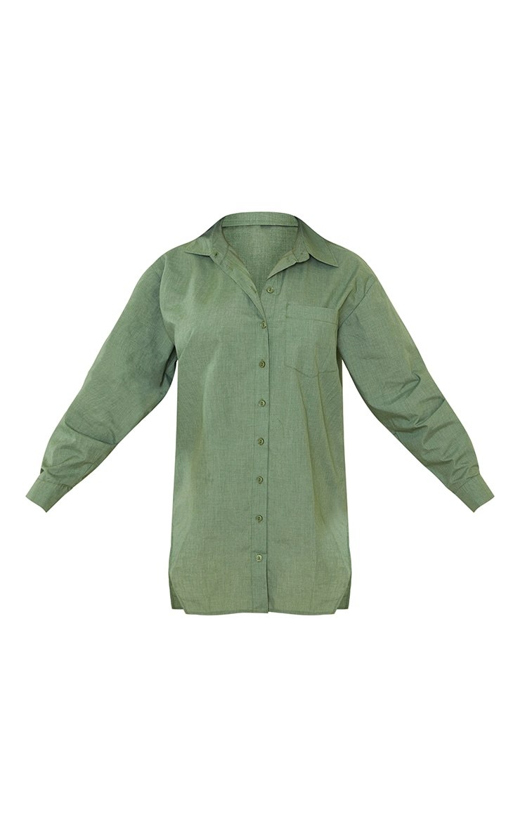 Khaki Woven Button Down Side Split Detail Shirt Dress 5