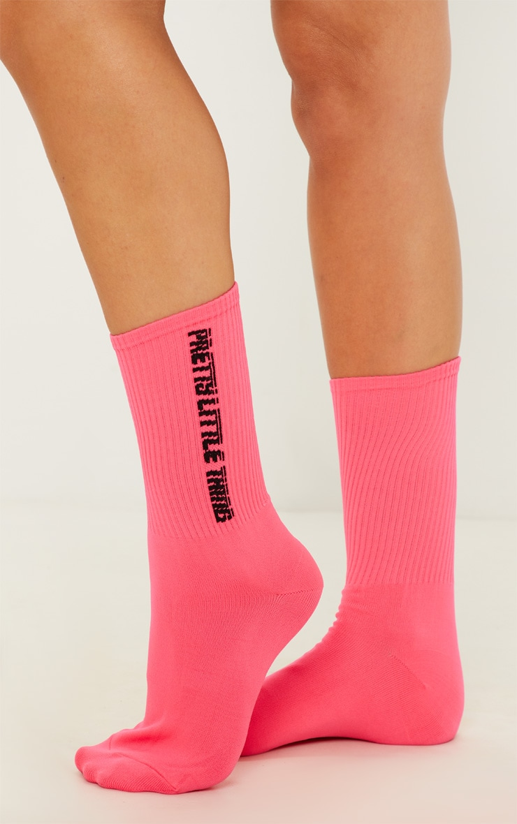 Neon Pink Pretty Little Thing Logo Socks