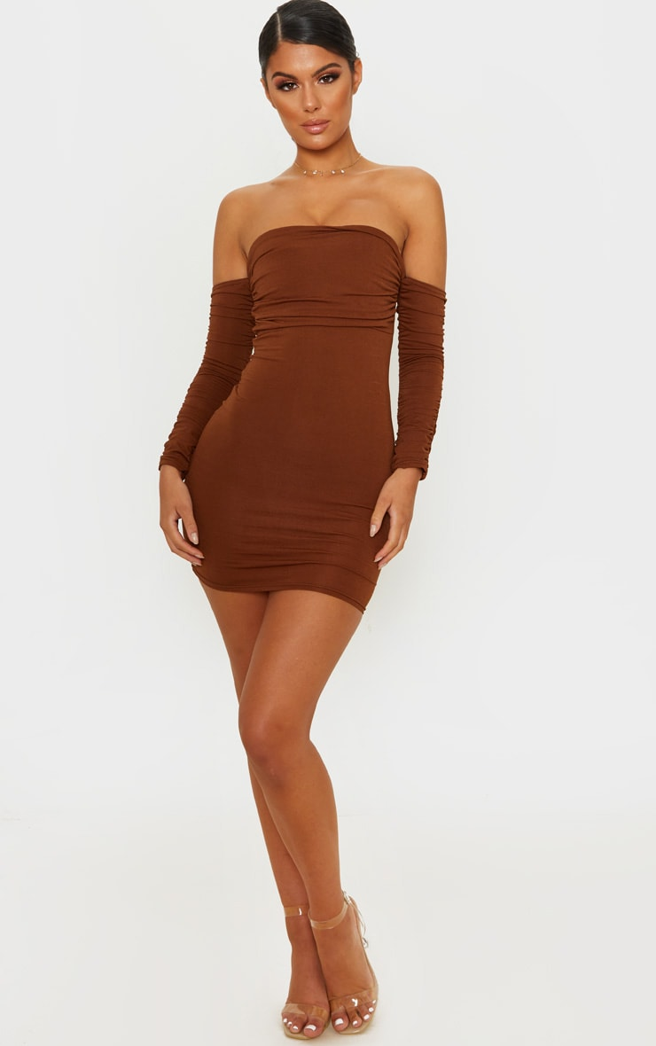 Chocolate Brown Slinky Ruched Bodice Bardot Sleeve Bodycon Dress