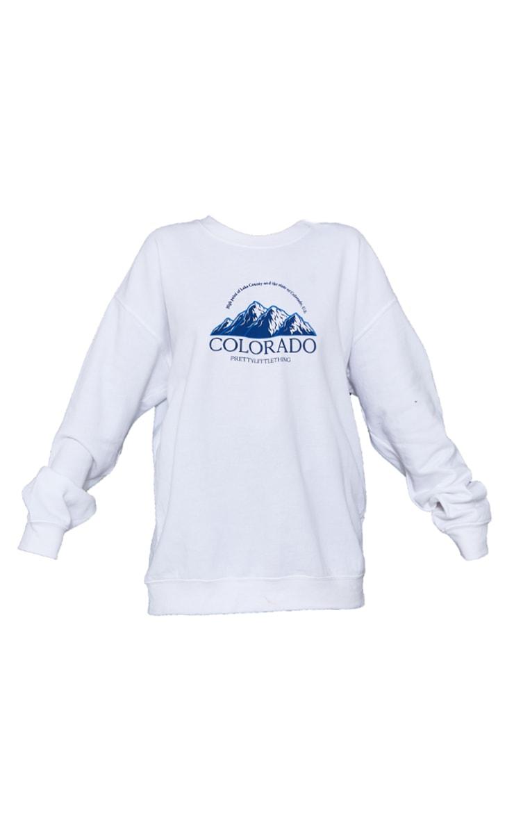 White Colorado Print Oversized Sweatshirt 5