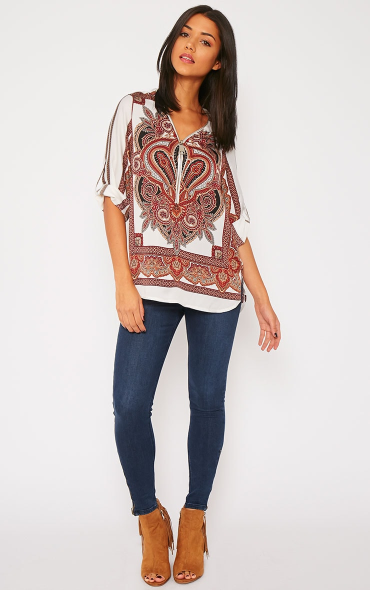 Mallory Cream Paisley Print Zip Front Top 4