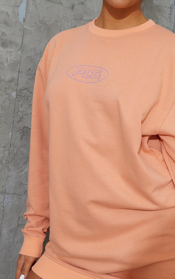 PRETTYLITTLETHING Orange Contrast Oversized Sweat Jumper Dress 4