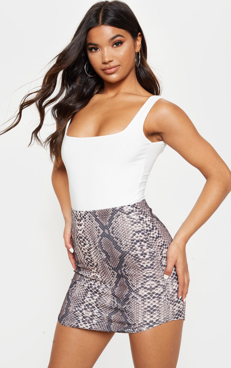 Angelia Brown Curve Hem Snake Print Mini Skirt 1