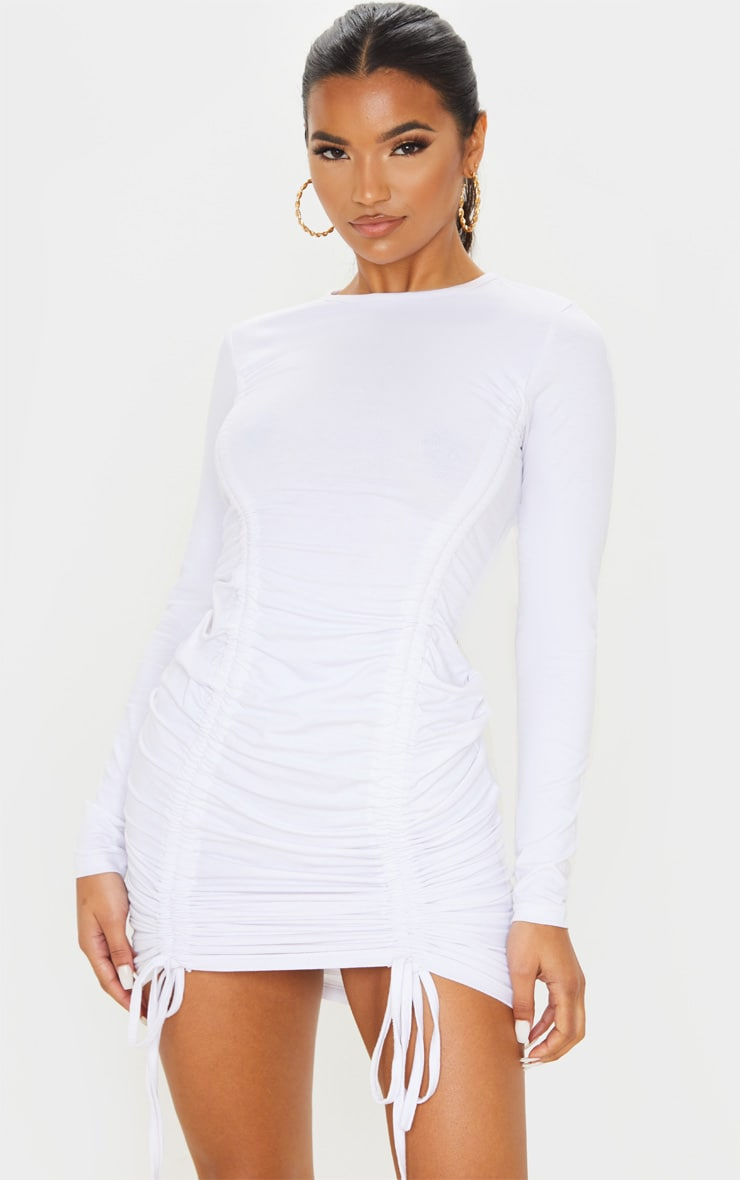 White Long Sleeve Ruched Front Bodycon Dress 1