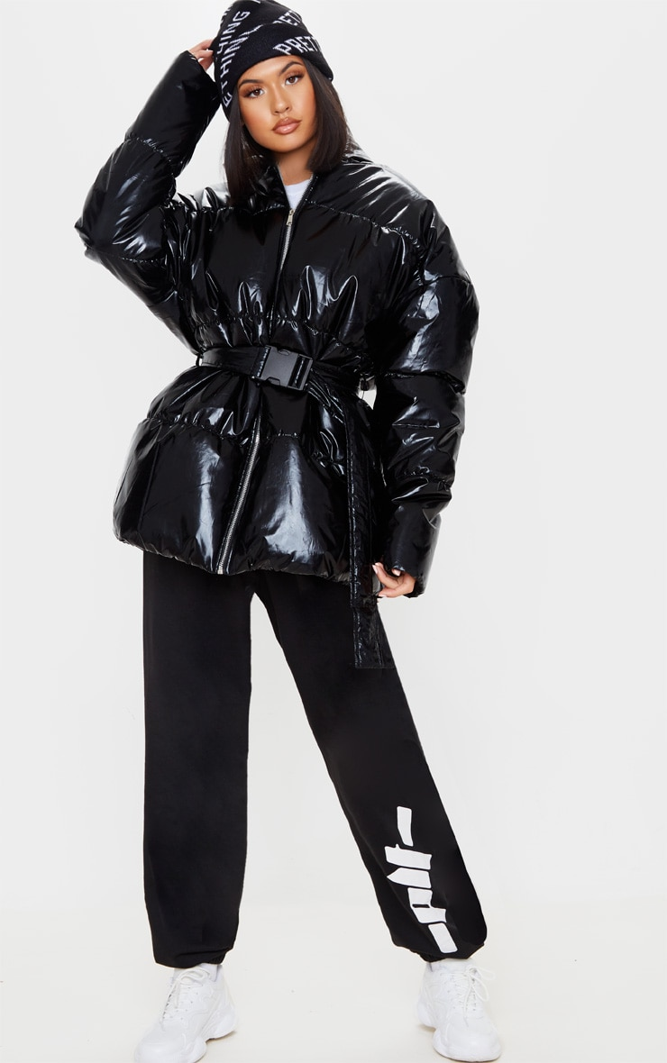 Black High Shine Hooded Midi Belted Puffer Jacket 4