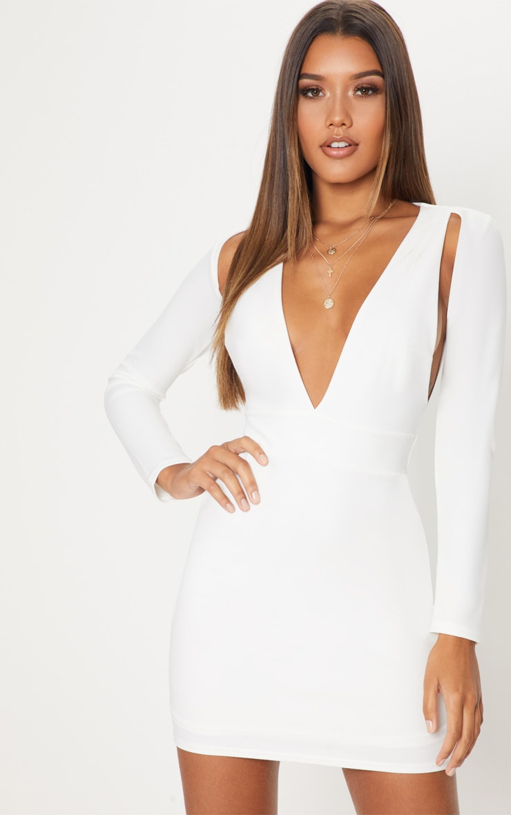 White Plunge Cut Out Sleeve Bodycon Dress 1