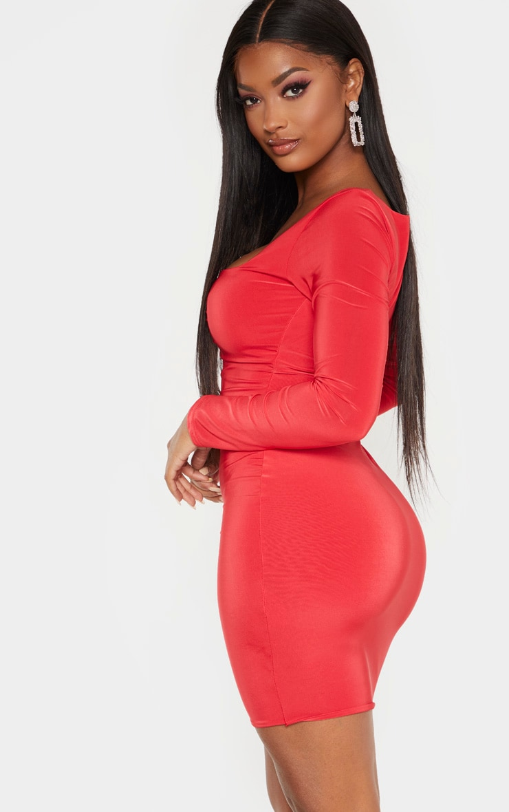 Shape Red Long Sleeve Slinky Ruched Bust Bodycon Dress 2