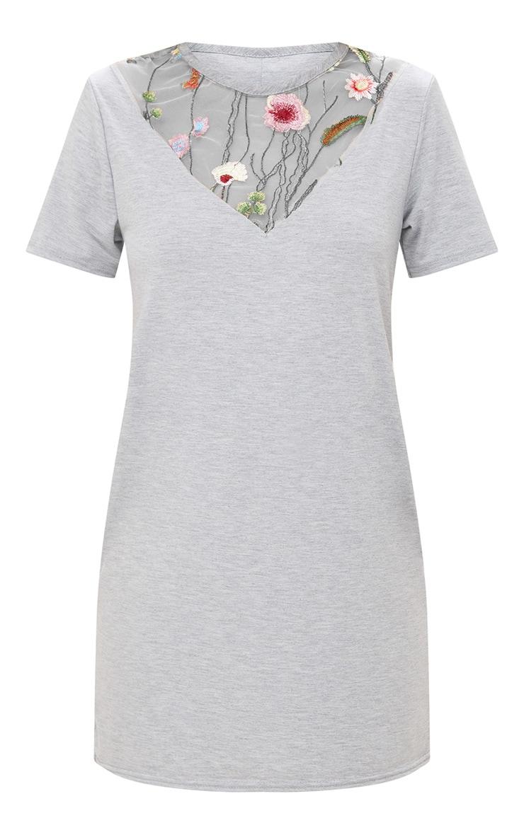 Grey Marl Embroidered Insert T Shirt Dress 3