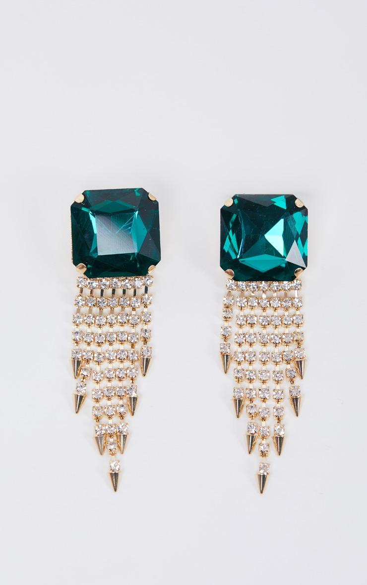 Green Oversized Gemstone Earrings With Diamante Drops 2