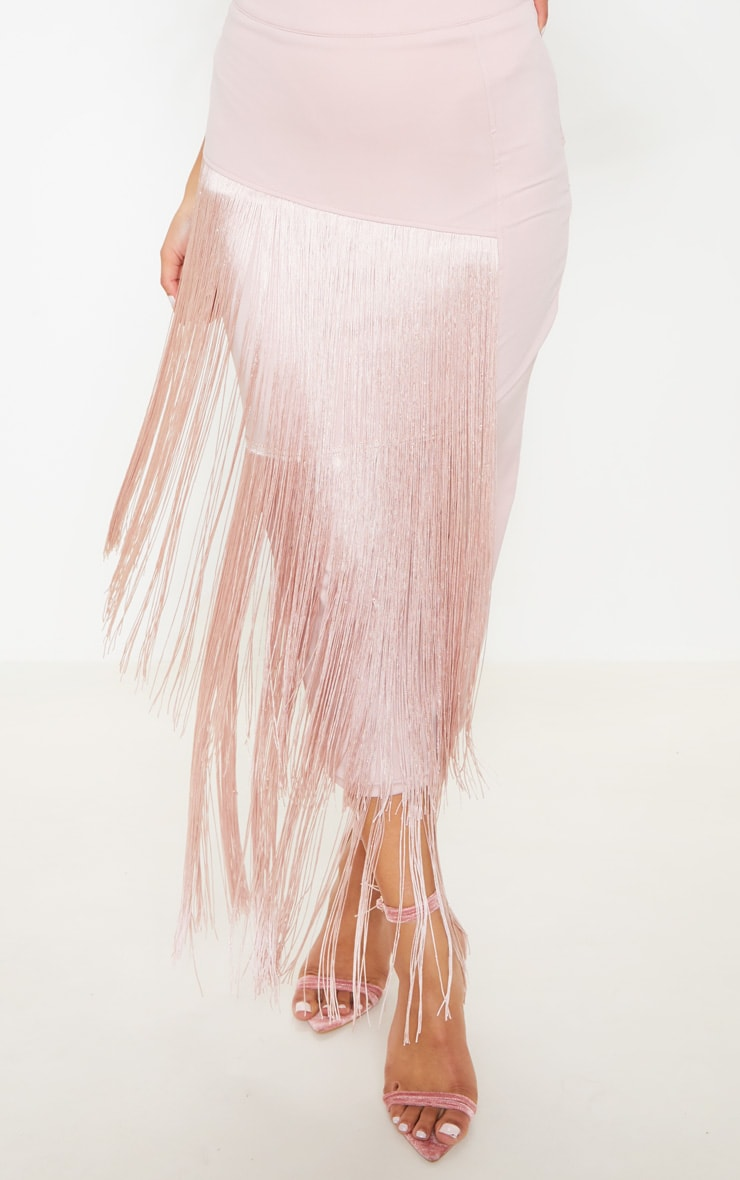Pale Pink Fringe Detail Tiered Midaxi Skirt 5