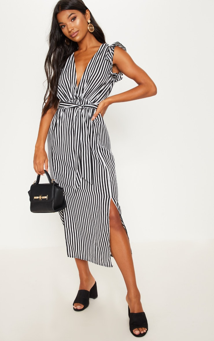 Monochrome Stripe Satin Frill Shoulder Split Midi Dress 4