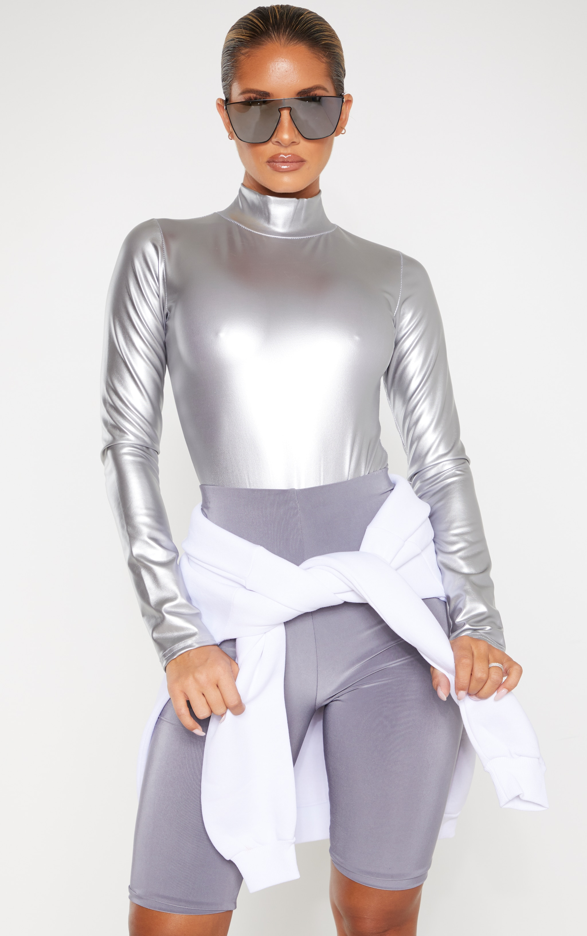 Silver Metallic High Neck Long Sleeve Bodysuit 1