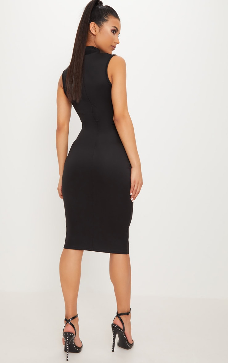 Black High Neck Mesh Insert Sleeveless Bodycon Dress 2