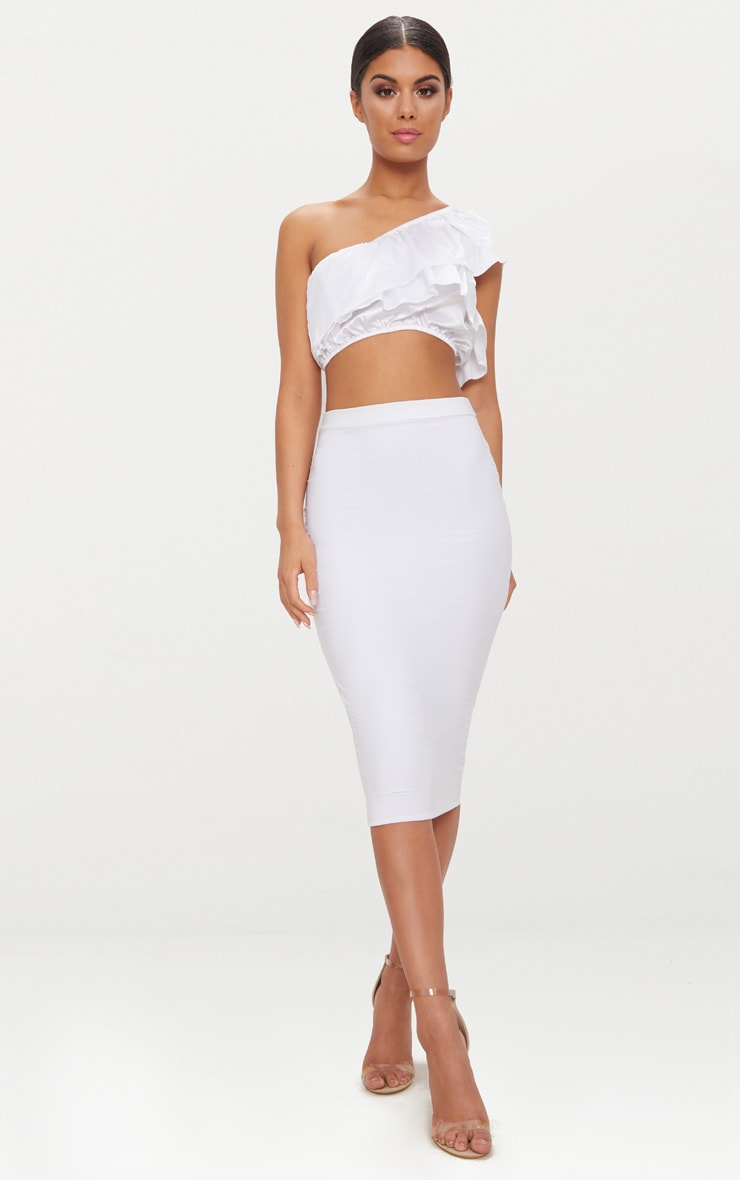 White Satin Frill Detail One Shoulder Crop Top  4