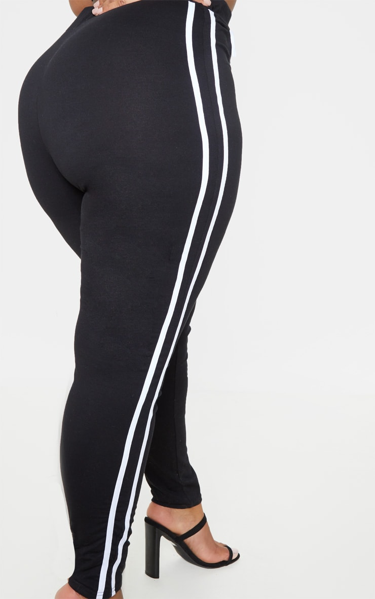 Plus Black Sports Stripe Leggings 6