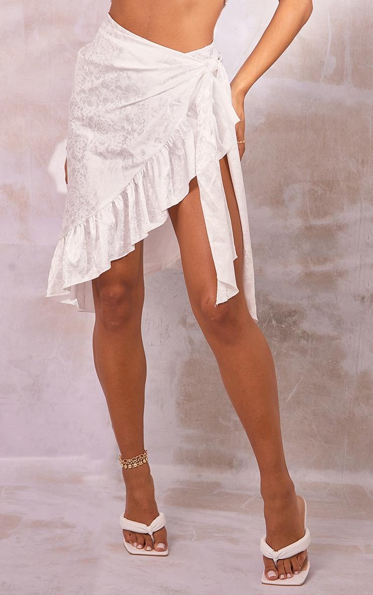 White Printed Satin Frill Hem Tie Waist Midi Skirt 2
