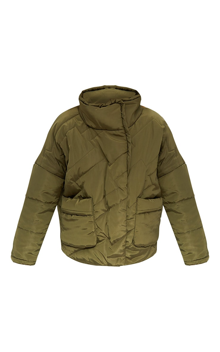 Petite Khaki Cropped Puffer Jacket with Front Pockets 3