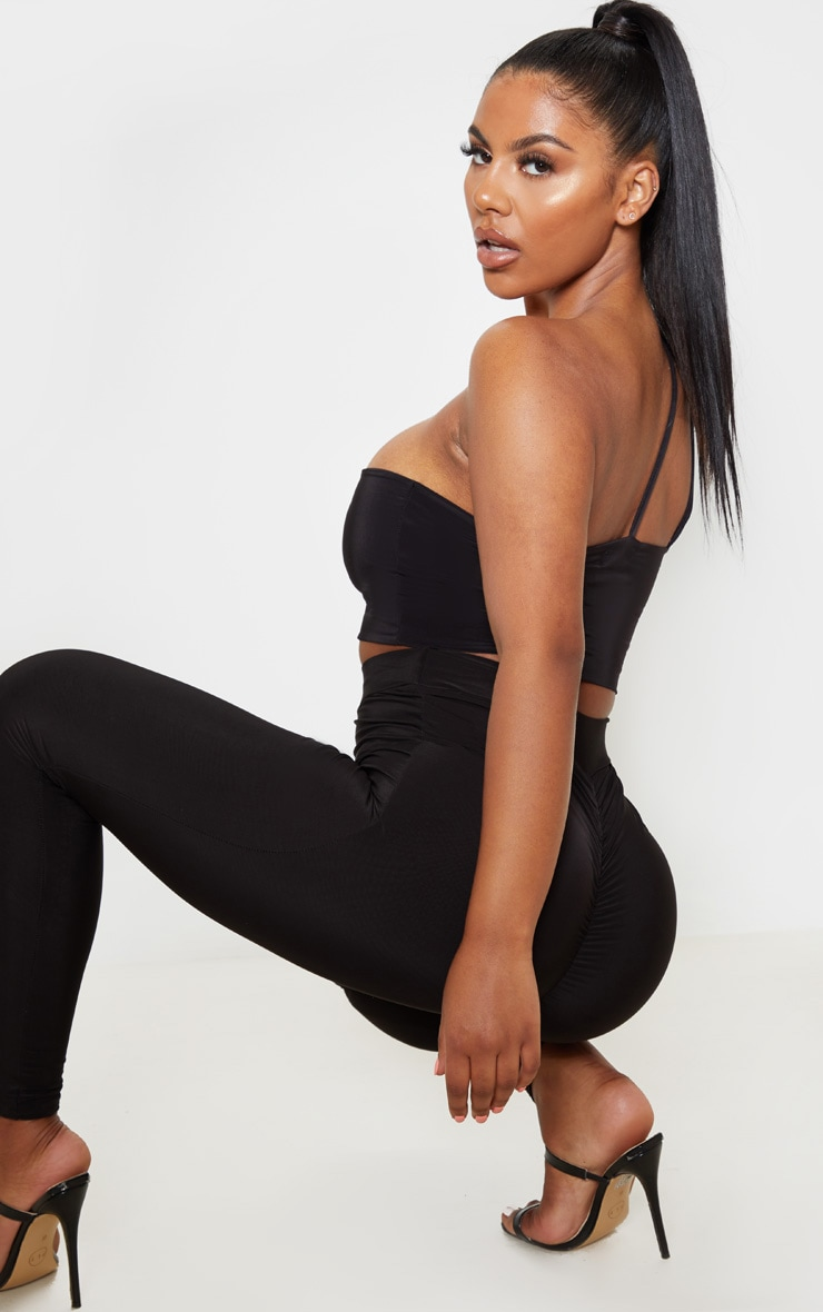 Black Slinky Asymmetric Strap Crop Top 2