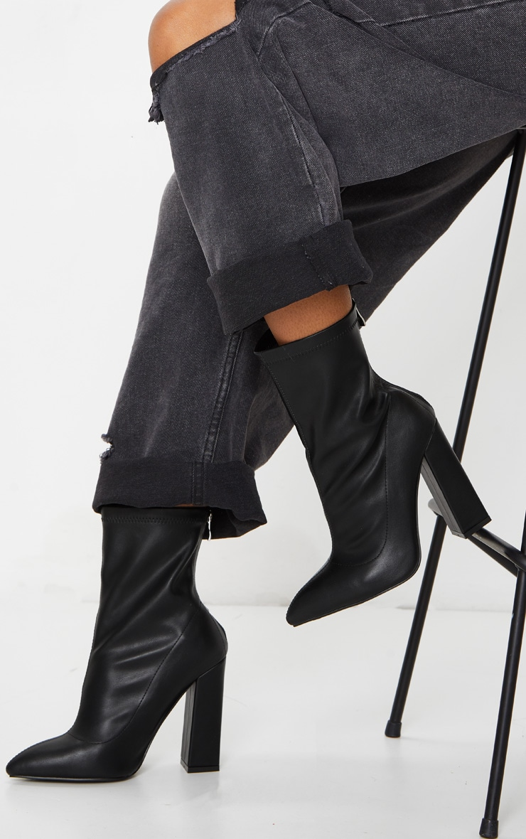 Black Wide Fit High Point Block Heel Ankle Boots 2