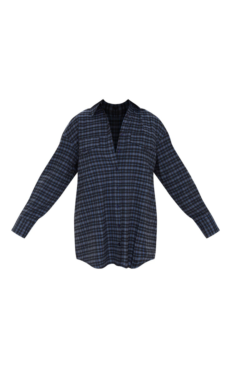 Navy Checked Oversized Dad Shirt 3