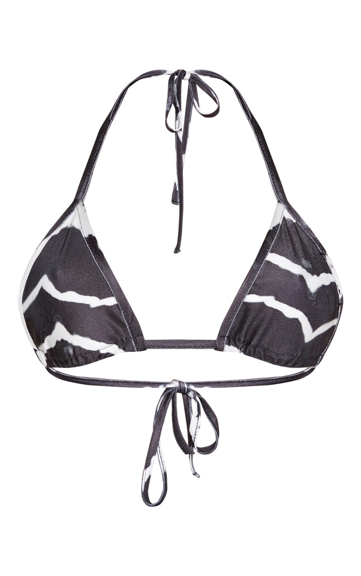 Black Tie Dye Triangle Bikini Top 3