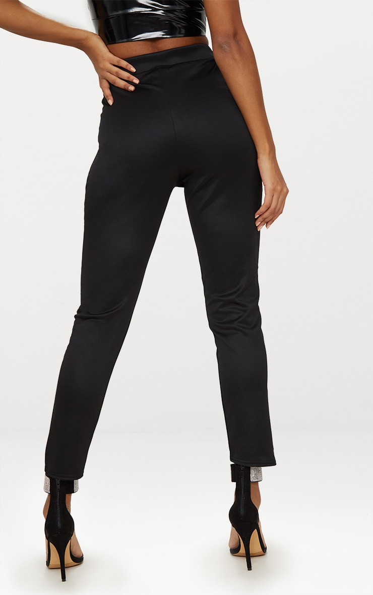 Black Scuba Step Hem Skinny Trousers 4