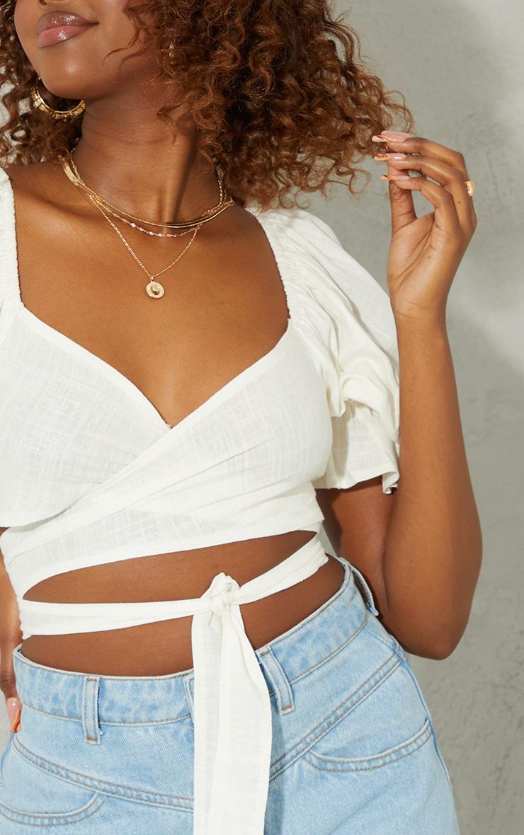 White Tie Front Linen Feel Crop Top 4