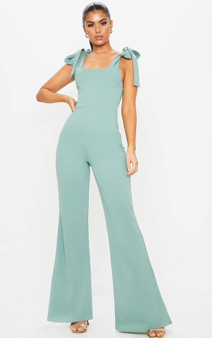 Mint Tie Strap Straight Neck Jumpsuit 1