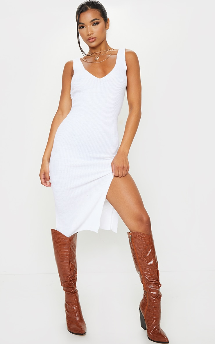 White V Neck Side Split Knitted Midi Dress 1