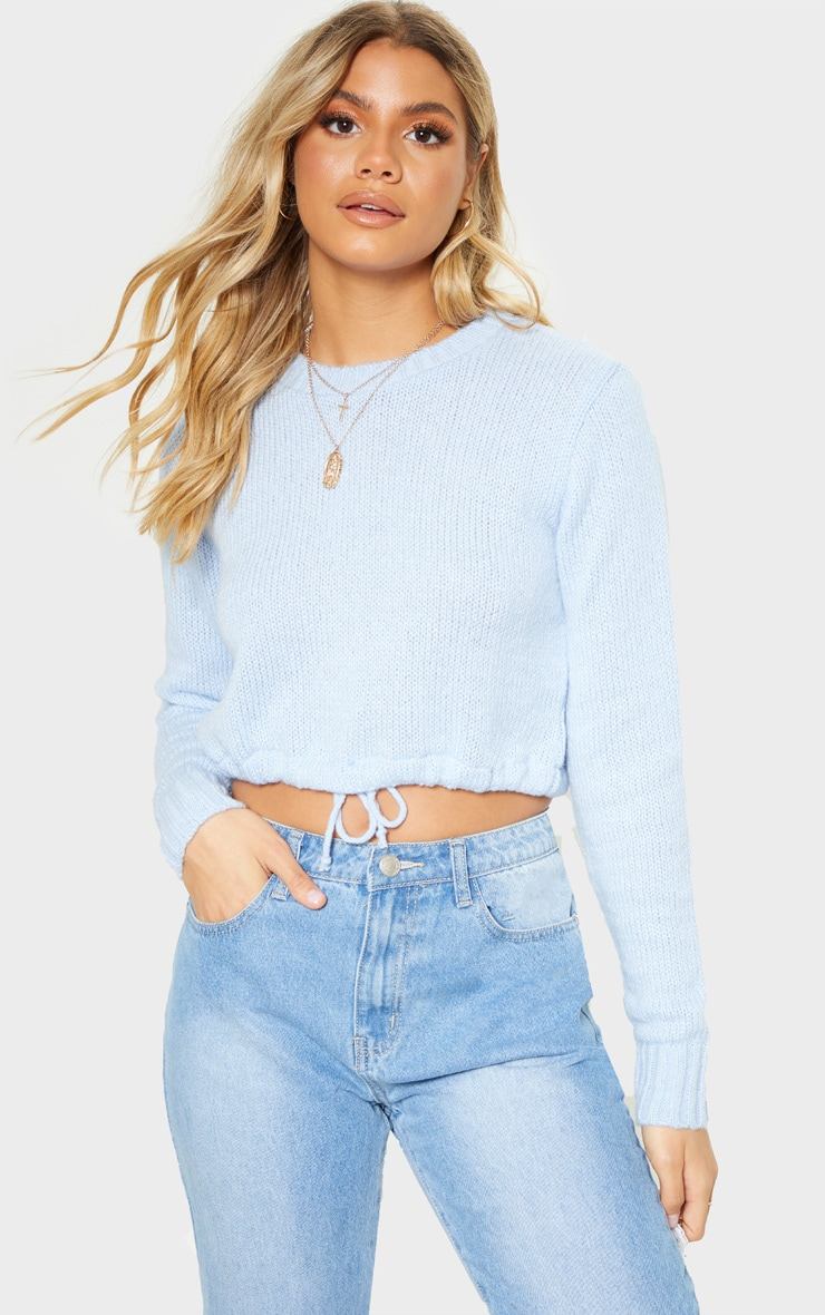 Blue Laguna Ruched Hem Knitted Crop 4
