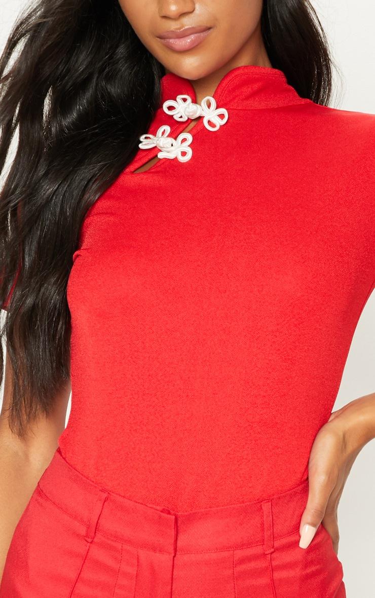 Red Oriental Trim Short Sleeve Bodysuit 6