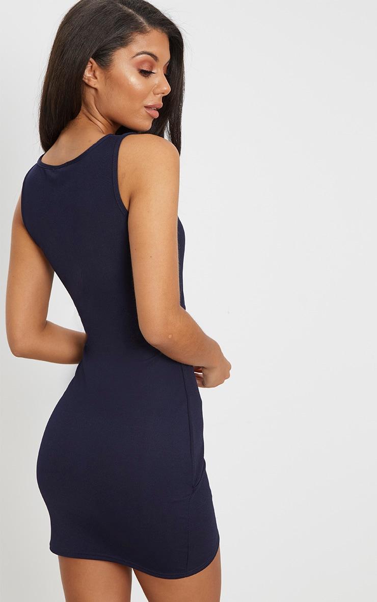 Navy Cut Out Detail Wrap Skirt Bodycon Dress 2