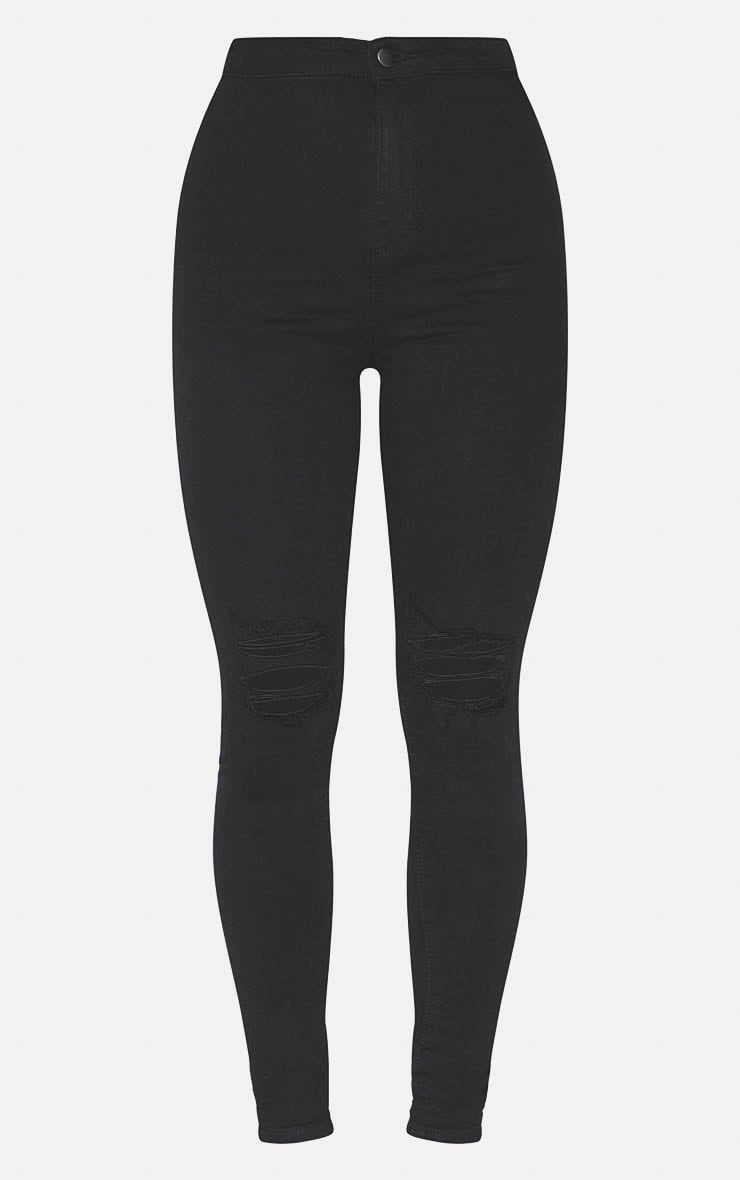 PRETTYLITTLETHING Black Knee Rip Disco Skinny Jean 3