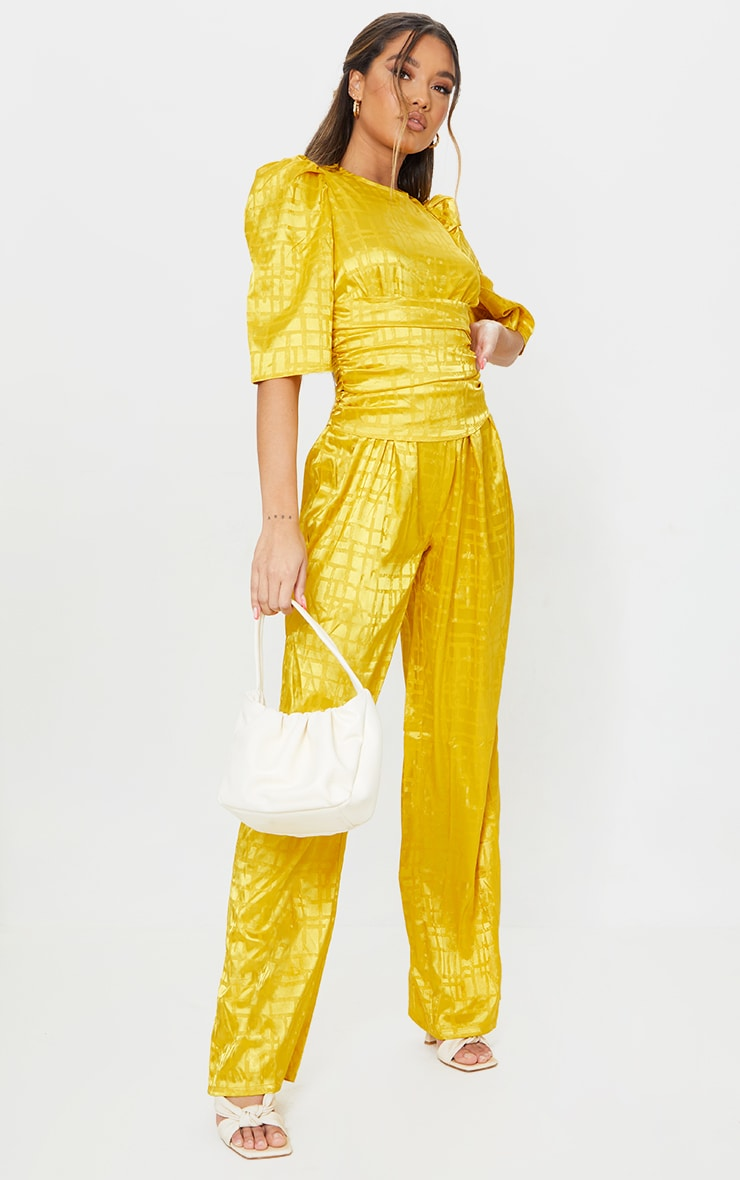 Chartreuse Satin Jacquard Short Sleeve Ruched Jumpsuit 3
