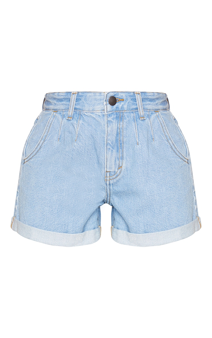 Petite Light Blue Wash Turn Up Hem Mom Shorts 6