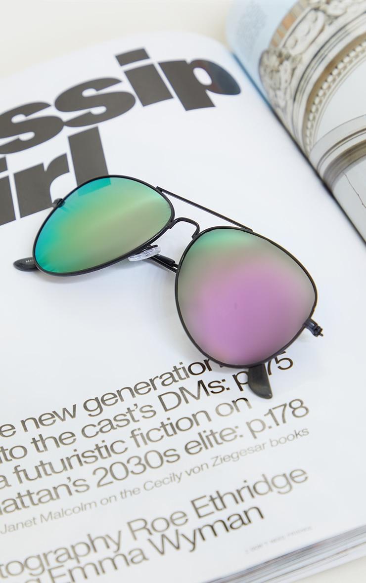 Black Frame Purple Lens Aviator Sunglasses 2