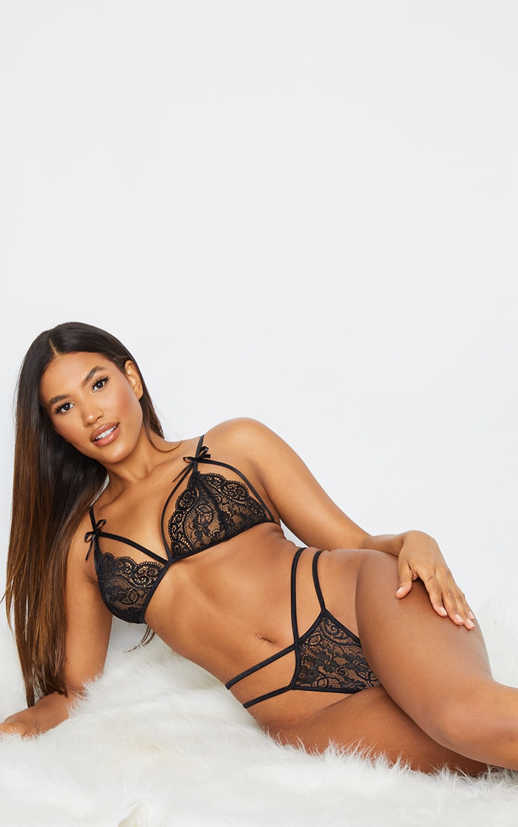 Black Harness Lace Triangle Lingerie Set 3