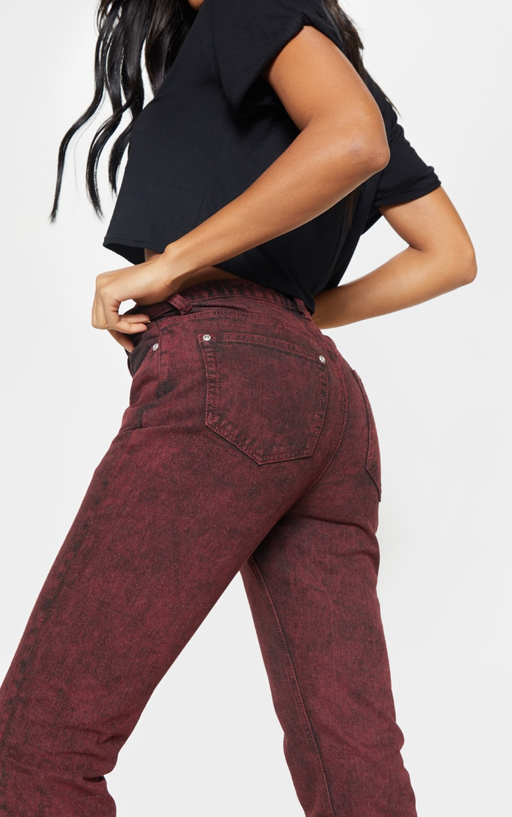 Acid Burgundy Straight Leg Jeans  4