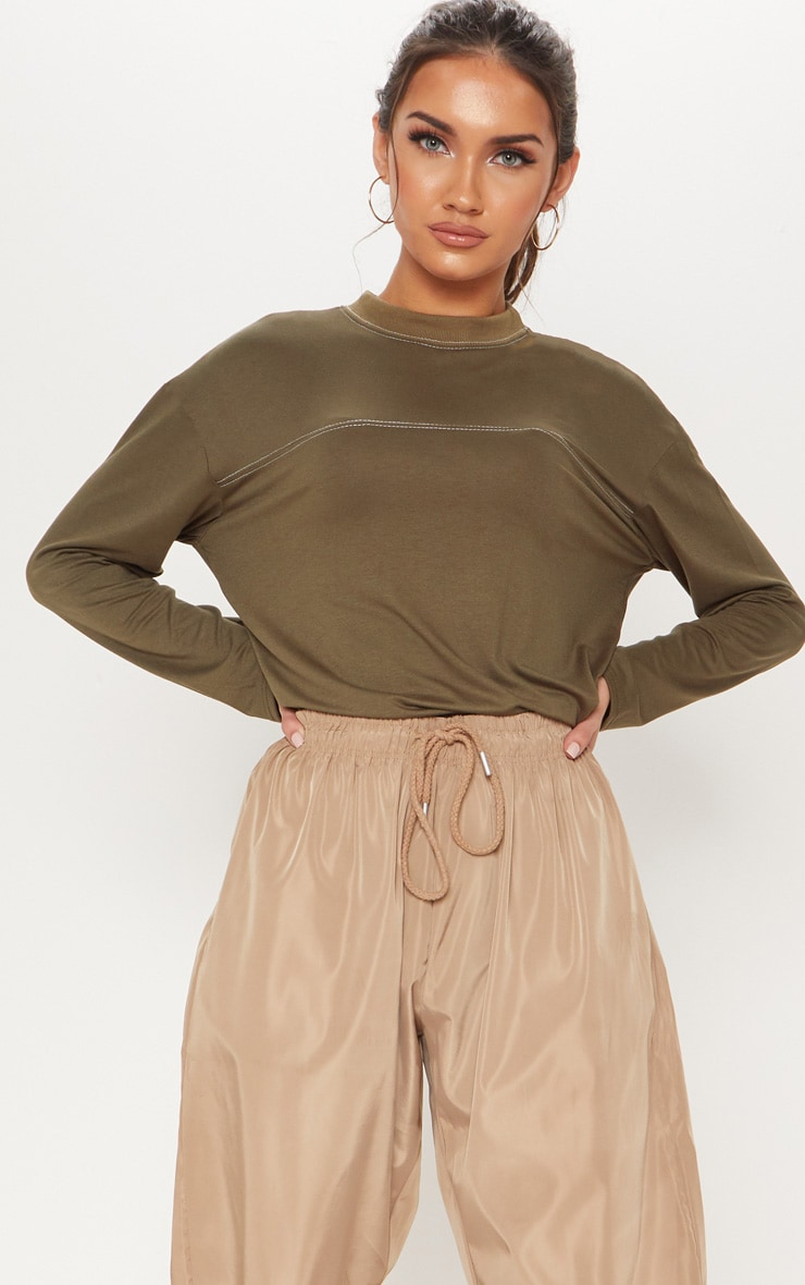Khaki Contrast Stitch Long Sleeve Top