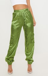 d2faf1aebb957b Petite Olive Satin Cargo Pants | Petite | PrettyLittleThing USA