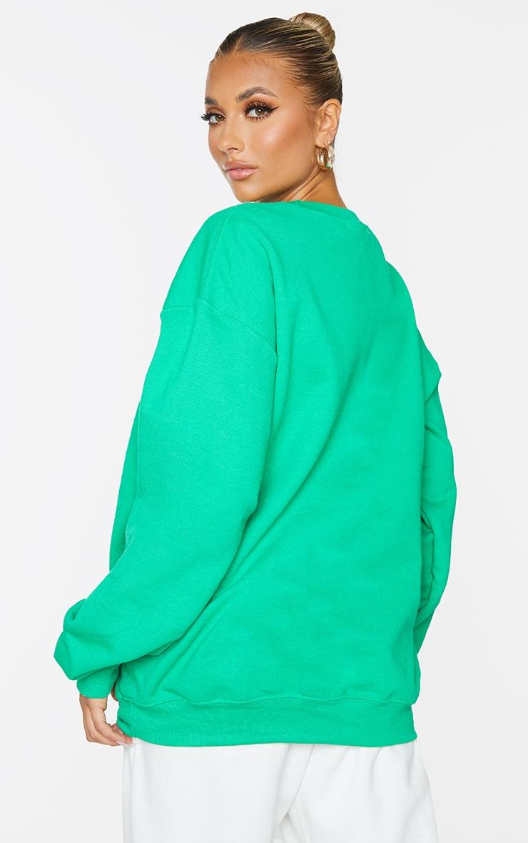 PRETTYLITTLETHING Bright Green Branded Apparel Woven Badge Sweatshirt 2