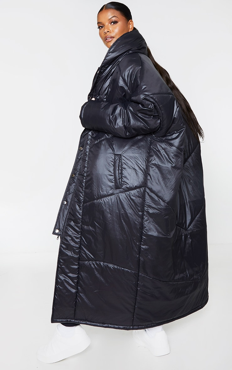 Plus Black Midi Oversized Puffer Coat 2